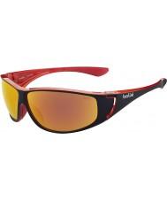 Bolle Highwood glanzend zwart rood gepolariseerde tns vuur zonnebril