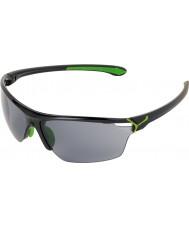 Cebe Cinetik grote glanzende zwarte groene zonnebril