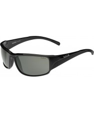 Bolle Keelback glanzende zwarte modulator gepolariseerde grijze zonnebril