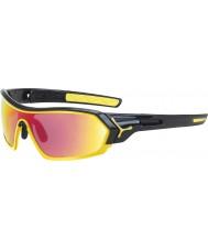 Cebe S-print glanzende zwarte gele zonnebril