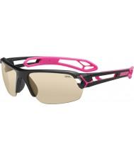 Cebe S-spoor medium glanzende zwarte zonnebril magenta