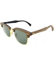 RayBan Rb3016m 51 clubmaster hout notenhout rubber zwart 118.158 gepolariseerde zonnebril