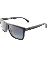 Emporio Armani Ea4033 56 moderne zwarte grijze rubberen 5229t3 gepolariseerde zonnebril