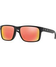 Oakley Oo9102-51 Holbrook matzwart - ruby iridium gepolariseerde zonnebril