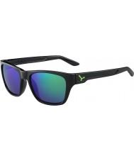 Cebe Hacker glanzend zwart groen 1500 grijze flash mirror groene zonnebril