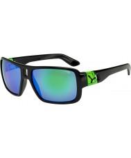 Cebe Lam glanzende zwarte groene zonnebril