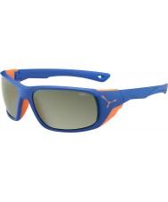 Cebe Jorasses grote mat blauw oranje variochrom piek flash mirror zonnebril