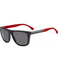 HUGO BOSS Mens boss 0834-s HWS 3h donkergrijs rood gepolariseerde zonnebril