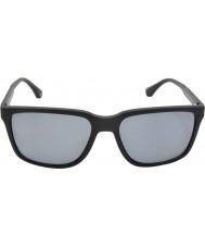 Emporio Armani Ea4047 56 moderne zwarte rubber 506.381 gepolariseerde zonnebril