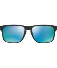 Oakley Oo9102-c1 Holbrook glanzend zwart - prizm diepe H2O gepolariseerde zonnebril
