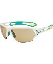Cebe S-spoor grote mat wit turquoise variochrom Perfo zonnebril met 500 duidelijke vervanging lens