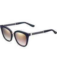 Jimmy Choo Ladies Fabry-s kca nh blauwe glittery gouden spiegel zonnebril