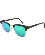 RayBan RB3016 51 clubmaster zand schildpad-goud 114.519 groen spiegel zonnebril