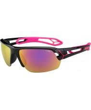 Cebe S-spoor medium glanzende zwarte magenta 1500 grijze spiegel roze zonnebril met heldere vervanging lens