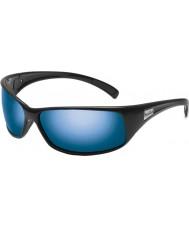 Bolle Terugslag glanzende zwarte gepolariseerde offshore-blauwe zonnebril