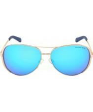 Michael Kors Mk5004 59 chelsea rose goud 100.325 blauwe weerspiegelde zonnebril